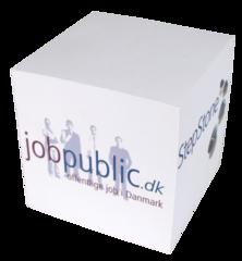 Kubusblok med logo tryk. 10x10x10 cm