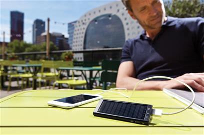 solar powerbank mit logodruck. Black Bedroom Furniture Sets. Home Design Ideas