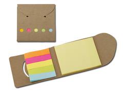 Markeringsmærker og selvklæbende blade i kartonomslag. Med logo tryk