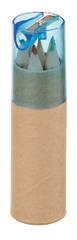 Farveblyanter 6 stk. i rør med blyantspidser, med logo tryk