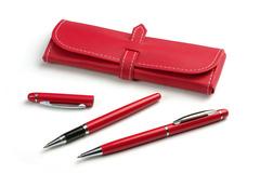 Elegant rødt skrivesæt med roller og kuglepen