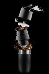 Kaffekværn og termokrus med logo tryk