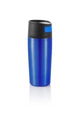 Termoflaske med logo tryk. Har enhåndsbetjent åbne/lukkefunktion