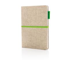 A5 Miljøvenlig jute bomulds notesbog med logo