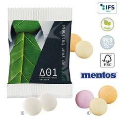 Mentos duo mints eller frugtpastiller i papirpose med logo