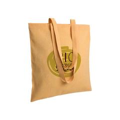 Recirkuleret bomuld indkøbspose med logo, lange håndtag.