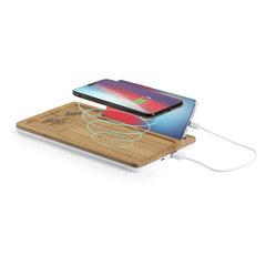 Bambus Trådløs mobil oplader og organisator med logo tryk