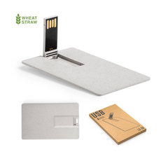 16 GB Hvedestrå USB stick med logo tryk