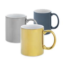 Keramik krus i metallic guld, sølv eller blå med logo tryk