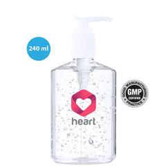 På lager 30.7  - 240 ml Håndsprit/Håndgel i flasker med logo