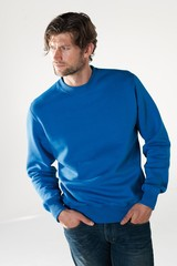 Sweatshirt med logo og rund hals - herremodel