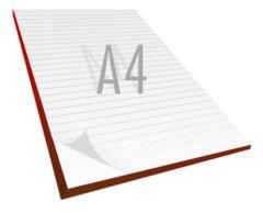 Notesblok A4 med tryk. 50 blade