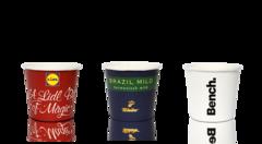 Espresso og tasting papkrus/engangskrus med logo  tryk - 100 ml indhold