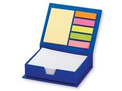 Boks med logo tryk på låget. Indeholder diverse skriveark